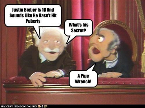 Justin Bieber Is 16 And Sounds Like He Hasn't Hit Puberty What's his Secret? A Pipe Wrench!