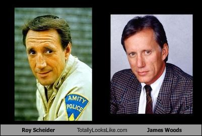 Side by side images of Roy Scheider and James woods to show how much they look alike