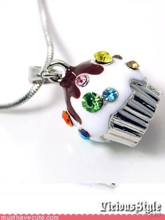 Bling chain cupcake Jewelry necklace pendant rhinestones - 3366685696