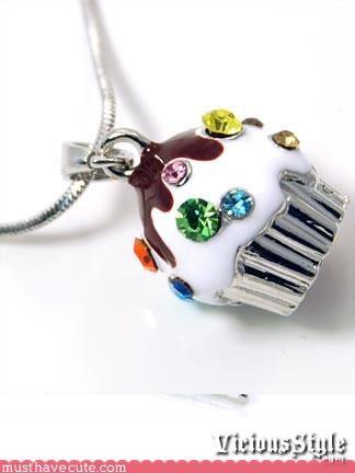 Bling chain cupcake Jewelry necklace pendant rhinestones - 3366685696