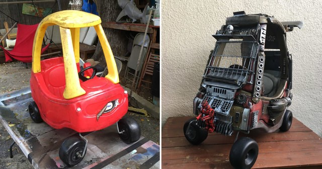 dad turns his kids toy cars to mad max vehicles