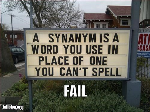 definition failboat sign spelling error synonym