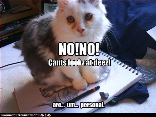 NO!NO! Cants lookz at deez! are... um... personal.