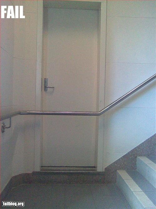 bad design blocked door failboat hand rail - 3374494976