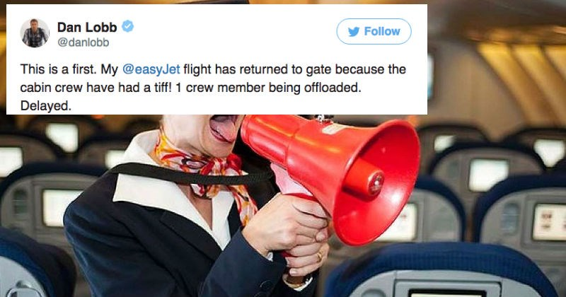 Guy live-tweets his flight delay when two crew members end up getting in ridiculous fight.