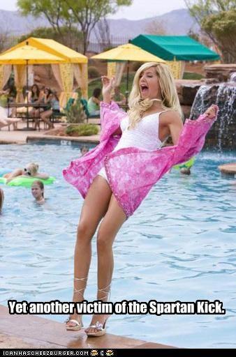 300 Ashley Tisdale blondes fall high school musical pool spartan kick - 3376729088