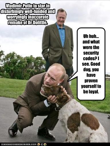 dogs,evil,george-hw-bush,scheming,Vladimir Putin,vladurday