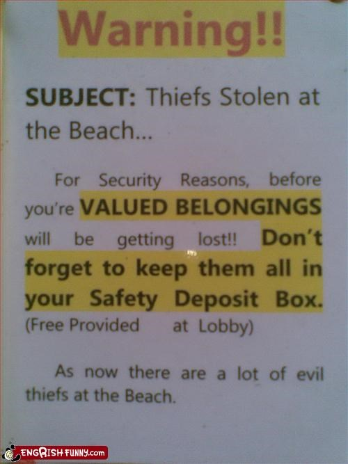 beach,evil,steal,thief,warning
