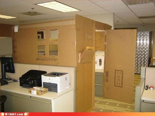 additions,architecture,awesome,boredom,cardboard,clever,creativity in the workplace,cubicle boredom,depressing,fancy,ghetto,hobos,homeless style,ingenuity,interior design,office kitchen,osha,prank,remodel,sculpture,shanty,wiseass