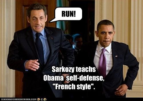 barack obama,france,french,Nicolas Sarkozy,president,running,self defense