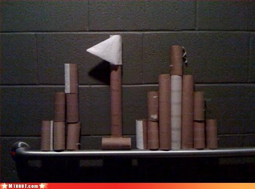 art arts and crafts ass-mess bathroom boredom craf creativity in the workplace cubicle boredom DIAF diarrhea diarrhea all over the place disaster lazy mess paper towels passive aggressive Sad sail boats sculpture toilet paper tubes why - 3380378624