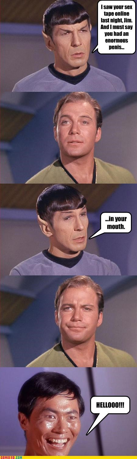 Captain Kirk gay jokes sex tape Spock Star Trek sulu - 3382353664