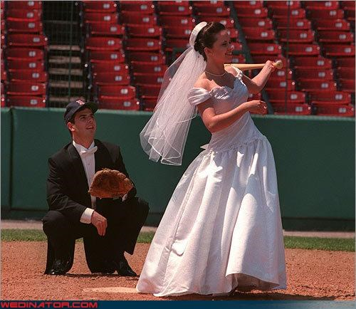 baseball bride groom home run red sox strike a pose were-in-love Wedding Themes