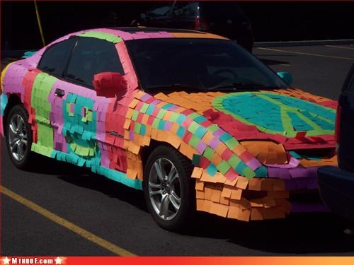 art awesome awesome co-workers not bravia car carbon footprint clown car creativity in the workplace cubicle boredom cubicle prank dickhead co-workers mess nom-nom-sonys-dick office supplies pimp my ride post its prank pwned sass screw you voluntary product placement lol wasteful wiseass wrapping