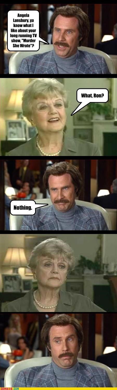Angela Lansbury,murder she wrote,old people,Ron Burgundy,the internets