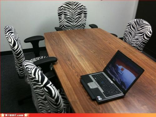 animal print busted chairs conference room decor decoration ergonomics fashion crime gross nerd decor no gay dude would ever decorate like this DUH roy Sad shabby siegfried stupid tacky tigers tragic trashy ugly zebra - 3387485184
