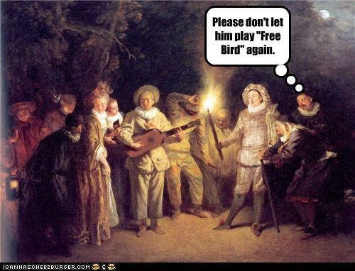 fire,group scene,lute,Music,painting