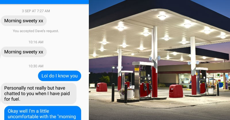 Woman who works at gas station gets creeped on by weird guy in awkward Facebook conversation.