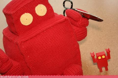 crochet diesel sweeties Knitted love Plush red robot - 3391956736
