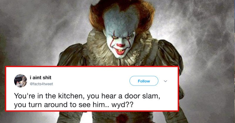 "Twitter thread about finding the clown from ""It"" in your kitchen ends up being solid entertainment."
