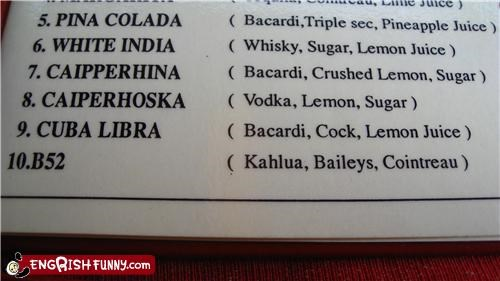 bar cock drinks ingredients menu