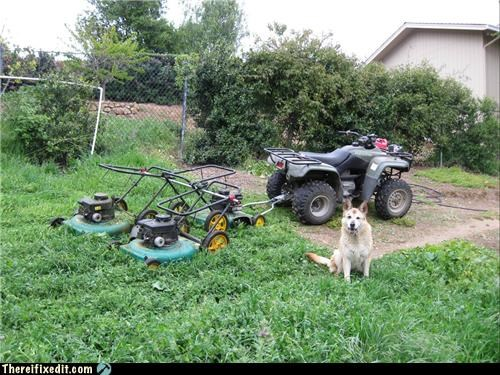 atv,lawn mower,outdoors,strapped together
