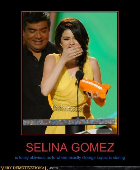 SELINA GOMEZ is totaly oblivious as to where exactly George Lopez is staring
