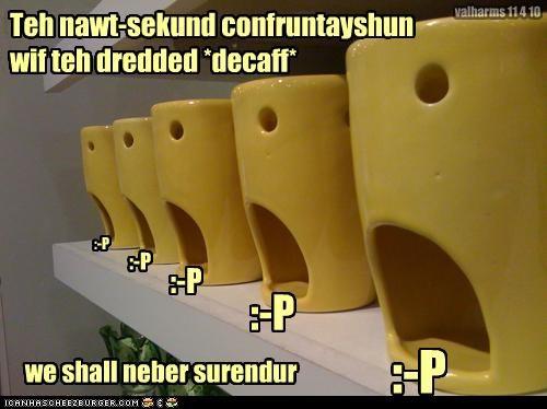 Teh nawt-sekund confruntayshun wif teh dredded *decaff* :-P :-P :-P :-P we shall neber surendur :-P valharms 11 4 10