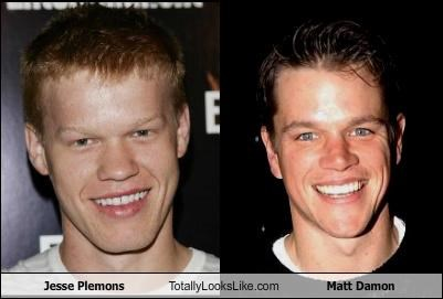 Funny pictures side by side of Jessie Plemons and Matt Damon in which they really look very much alike.