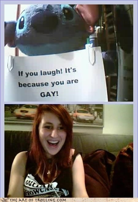 Chat Roulette,gay,laugh,sign,stitch
