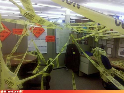 awesome co-workers not,boredom,caution tape,crime scene,cubicle,cubicle boredom,cubicle prank,dickheads,mess,osha,prank,pwned,sass,screw you,sculpture,wasteful,wiseass,work lol,wrapping
