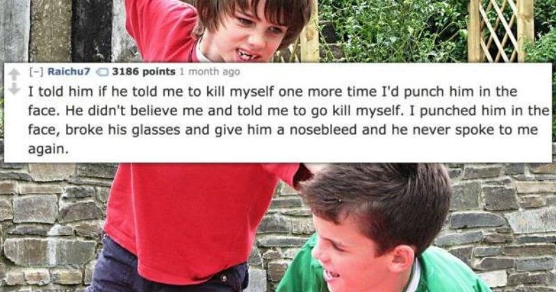 bullies got beat up by instant karma.