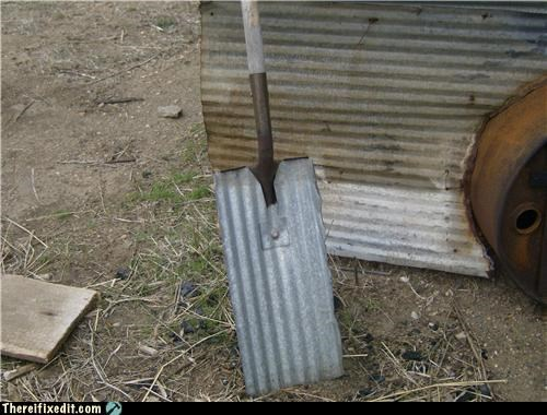 make it work pun recycling-is-good-right shovel - 3406872576