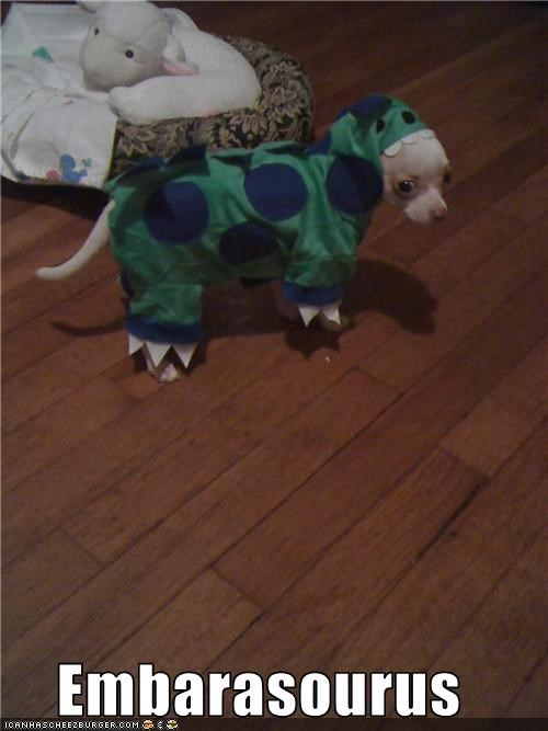 chihuahua costume dinosaur embarassed - 3408925952