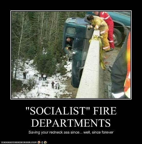 cars crash fire department firemen rednecks socialism - 3409928192