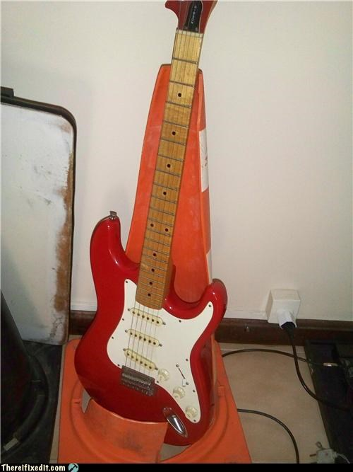 caution,guitar,Music,orange cone,recycling-is-good-right