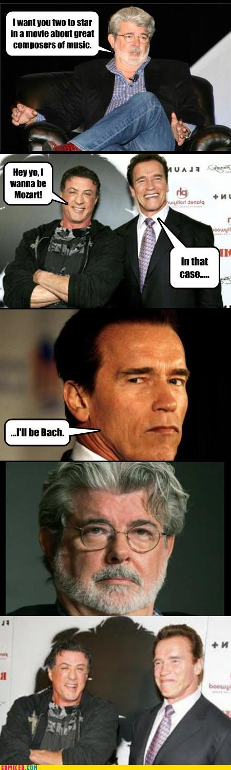 Arnold Schwarzenegger,Bach,celebutard,celebutards,From the Movies,george lucas,mozart,puns,Sylvester Stallone