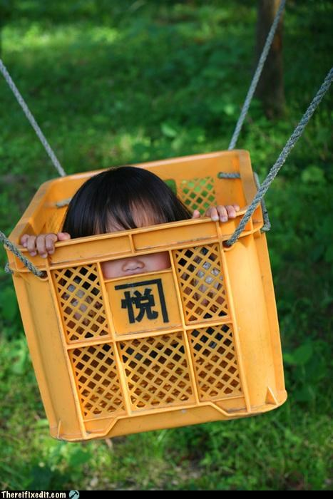 dangerous,for the kids,I feel safe,milk crate,swing