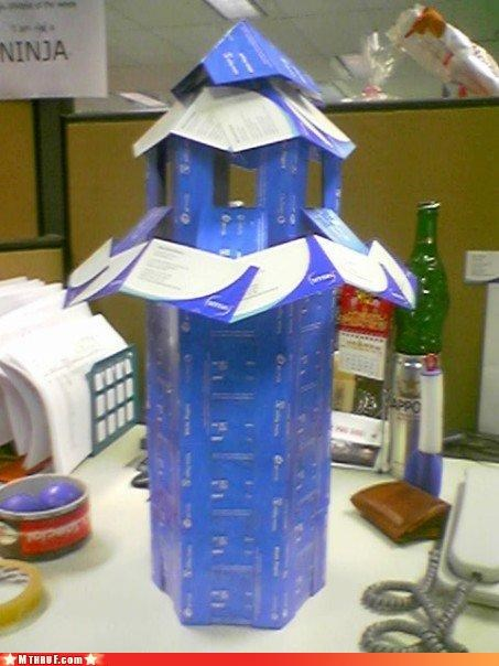 architecture art arts and crafts bored boredom business cards construction creative creativity in the workplace cubicle boredom decoration depressing engineering ingenuity mess productive recycle recycling Sad sculpture tower wasteful