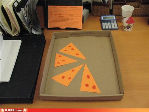 awesome co-workers not boredom construction paper creativity in the workplace cubicle boredom cubicle prank cubicle rage decoy delicious paper dickhead co-workers dickheads fake fake food papercraft passive aggressive pizza prank Sad sass screw you sculpture wiseass youre-fired