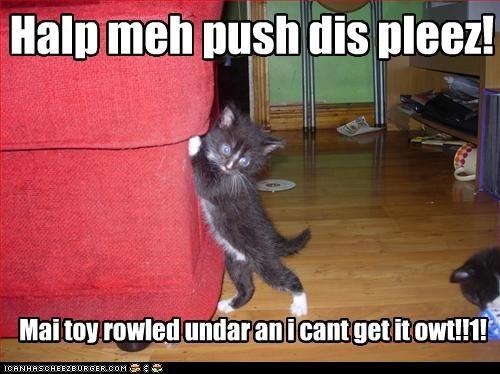Halp meh push dis pleez! Mai toy rowled undar an i cant get it owt!!1!