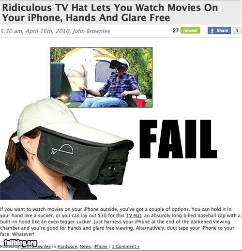 failboat hat invention ipod movies silly - 3419480064