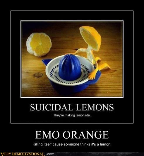 EMO ORANGE Killing itself cause someone thinks it's a lemon.