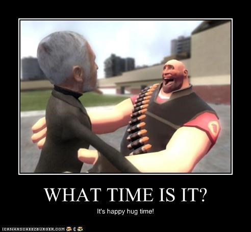 WHAT TIME IS IT? It's happy hug time!