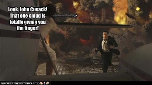 2012,action movies,actor,cgi,flipping the bird,john cusack,movies