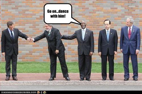 brazil,dance,france,george w bush,Luiz Inacio Lula da Silva,Nicolas Sarkozy,president,Republicans,Yasuo Fakuda