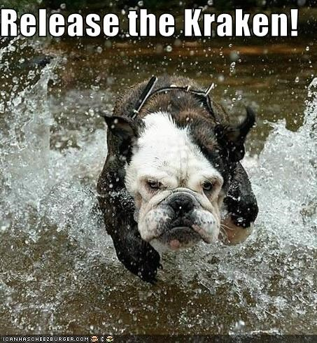 angry bulldog kraken monster running water - 3425297408