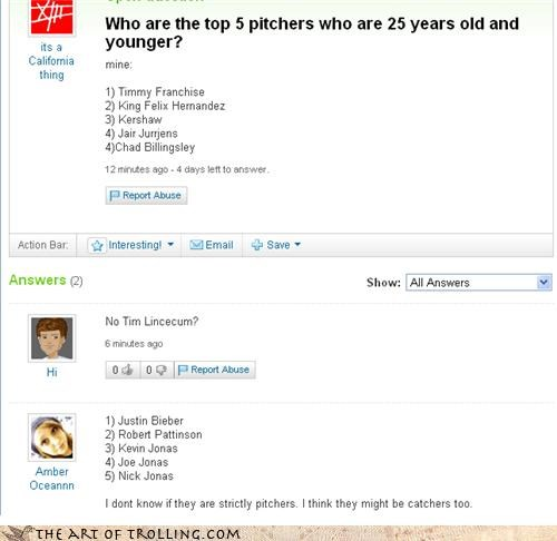 baseball,catcher,gay,jonas brothers,justin bieber,Yahoo Answer Fails