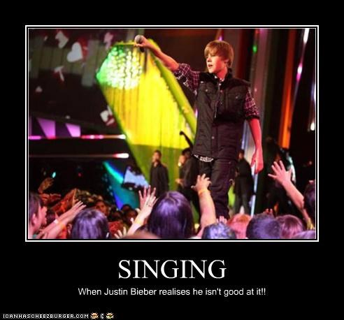 SINGING When Justin Bieber realises he isn't good at it!!