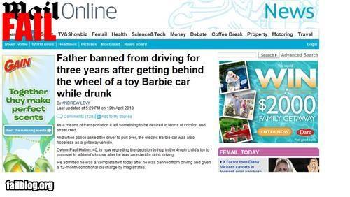 barbie car,driving,drunk,failboat